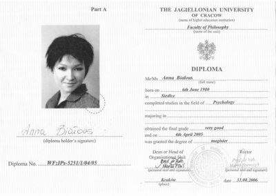 Diploma - The Jagiellonian University of Cracow