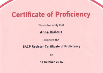 BACP Register Certificate of Proficiency