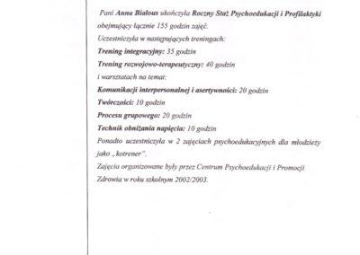 Roczny staż psychoedukacji i profilaktyki