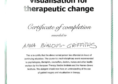 Guided imagery and visualisation for therapeutic change - Certificate