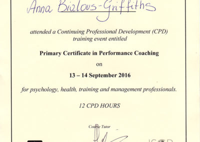 Primary Certificate in Performance Coaching