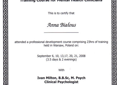 Training Course for Mental Health Clinicians