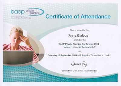 BACP Private Practice Conference 2014 - Anxiety: how can therapy help?